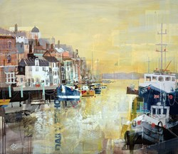 Sundown, Weymouth Harbour by Tom Butler - Original sized 30x26 inches. Available from Whitewall Galleries